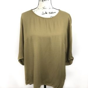 MNG Suit Olive Green 3/4 Sleeve Blouse
